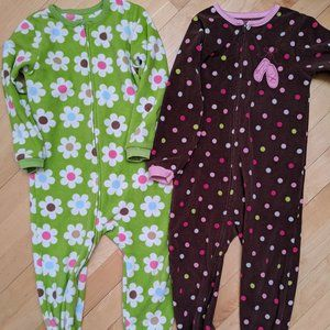2 pairs of Carter's Fleece Footed Sleepers